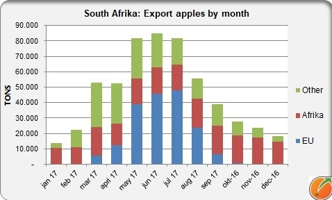 South Africa export apples by month